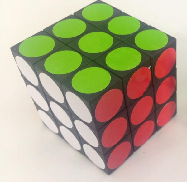 Zauberwürfel Puzzlewürfel m. rund Klebern OPP, ca. 5x5x5 cm