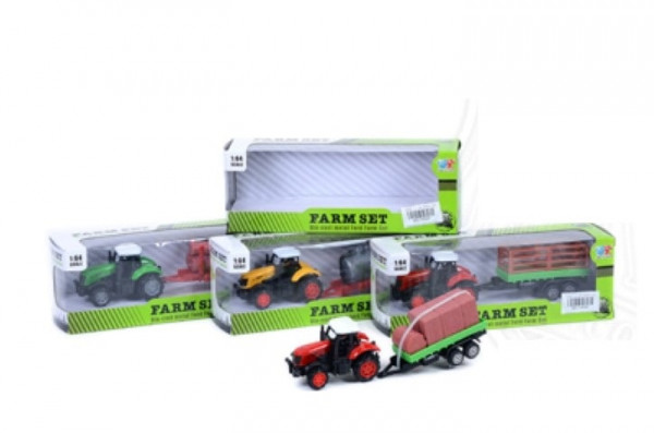 Traktor mit Anhänger sort. WB ca. 17x4x4,5cm