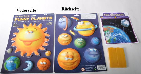 "3D Bild ""Funny Planets"" glow in the dark AK ca. 34x24cm"