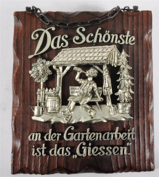 Holzbild m. Motiv und Spruch ca. 19,5x17 cm