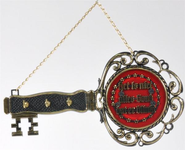 Schlüsselbrett m. niederl. Spruch sort. 3 Haken ca. 29cm lang