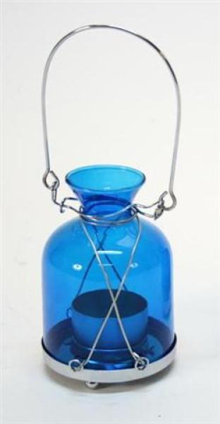 Flasche zum aufhängen blau BB; ca. D: 8cm H: 11,5cm