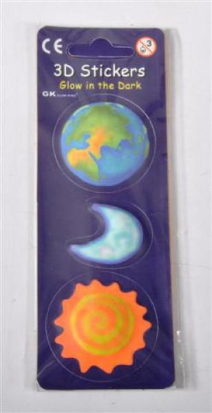 """3D Sticker """"Glow in the Dark"""" 16fach sort. OPP ca. 6 x 17 cm"""