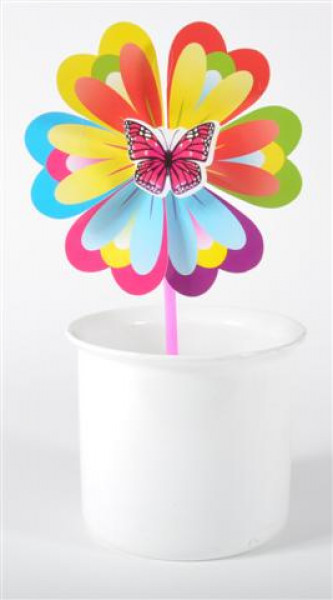 Windrad Schmetterling 3-fach sort. OPP, ca.42x20 cm