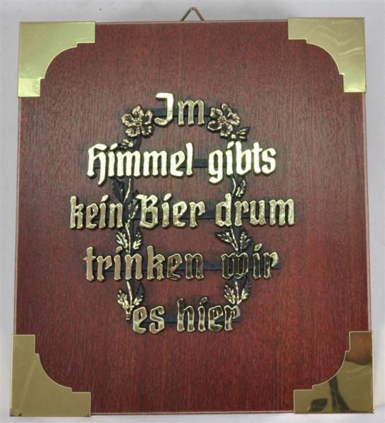 """Holzbild """"Im Himmel gibts kein Bier..."""" ca. 19x17 cm"""