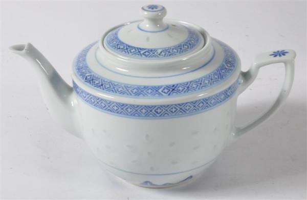 Reiskorn-Porzellan-Teekanne ca. 14,5 cm ca. 900ml