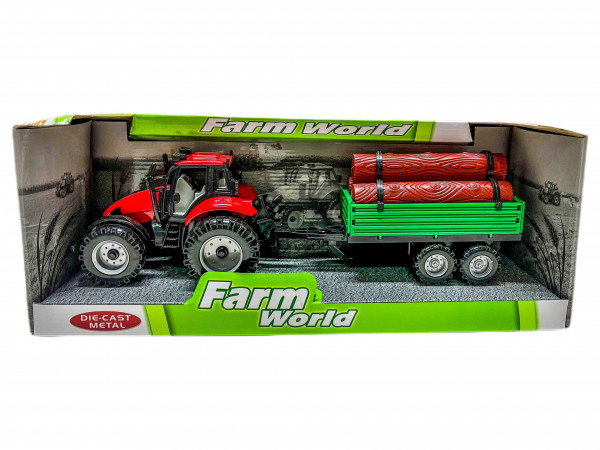 Traktor mit Holzanhänger WB ca. 28cm