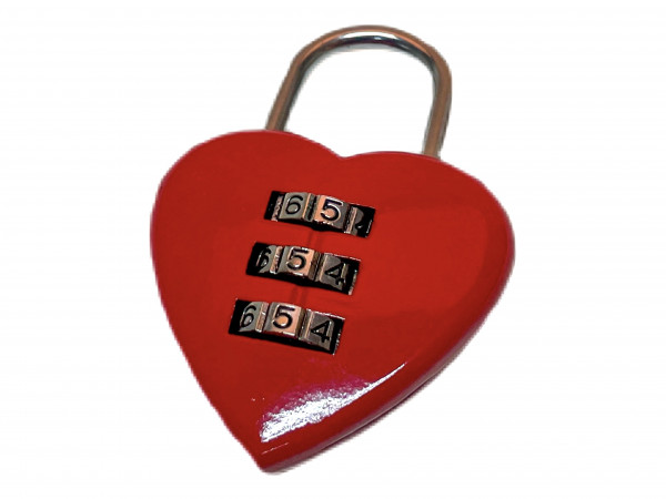 Zahlenschloß Herz aus Metall AK, ca. 5,5x3,5 cm