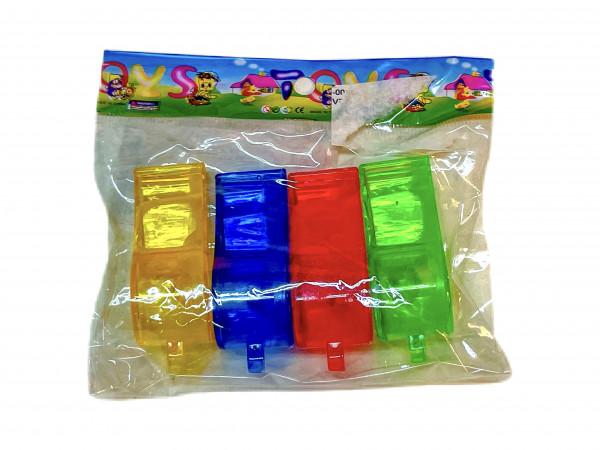 Plastik Pfeife transparent 4er Set sort. OPP, ca. L: 35cm