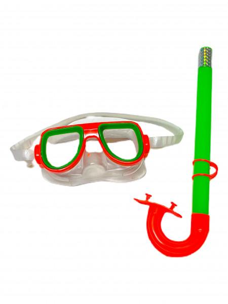 Schwimmbrillen Set farbl. sort. PBH, Schnorchel ca. 36cm Brille ca. 15,5x8cm