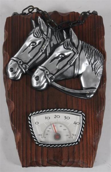Holzbild m.Pferdemotiv u.Thermometer ca. 21x13 cm
