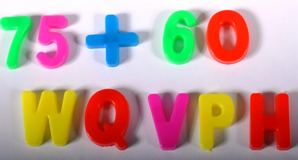Buchstaben und Zahlen sort. OPP