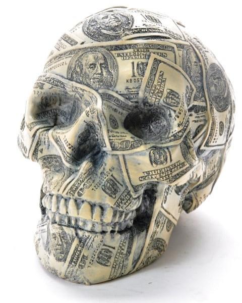 "Spardose Totenkopf ""Dollardesign"" BB ca. 19,5x13,5x11cm"