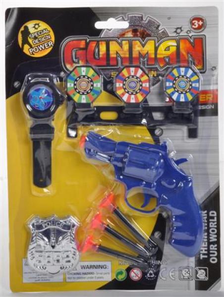 Pistole m. Saugnapf Pfeile Set sort. AK ca. 18x 21 cm