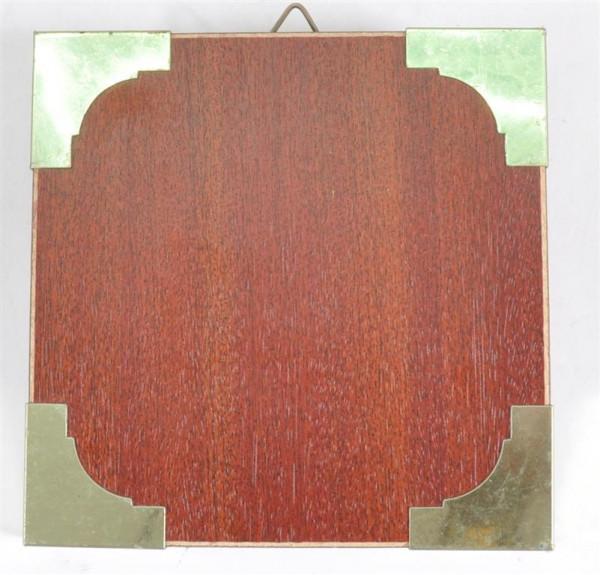 Holzbild mit Metallecken ca. 13,5x13,5 cm