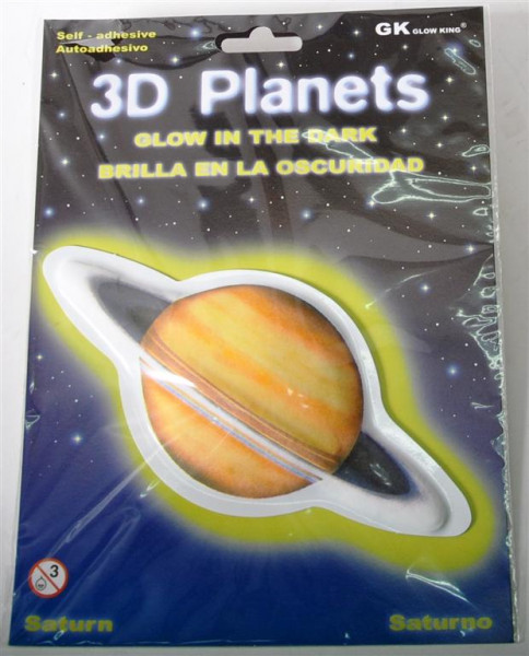3D Bild Pl. Saturn, glow in the dark AK, D: ca. 12 cm