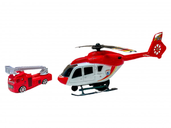 Helikopter m. Feuerwehrwagen WB ca. 33x9cm