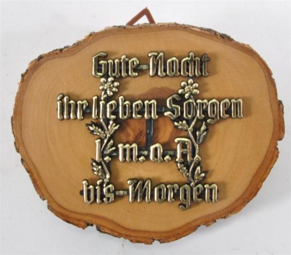 """Holzbild m. Spruch """"Gute Nacht...."""" D: ca. 10,5 cm"""