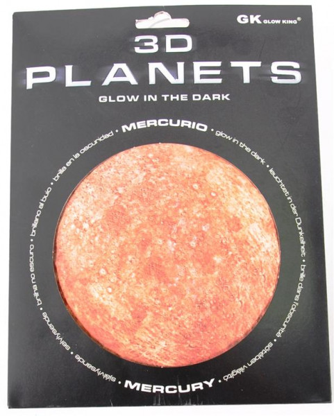 3D Bild Planet Merkur, glow in the dark AK, D: ca.12 cm