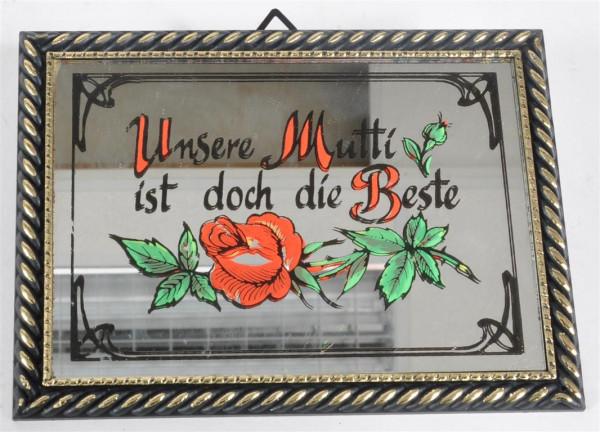 """Bild mit Spiegel """"Unsere Mutti..."""" ca. 16,5x12 cm"""