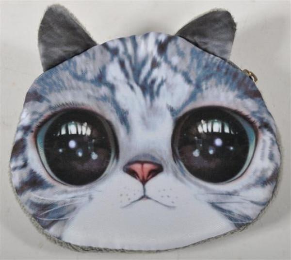 Geldbeutel Katzen u. Hundekopf sort. ca. 10,5x9 cm