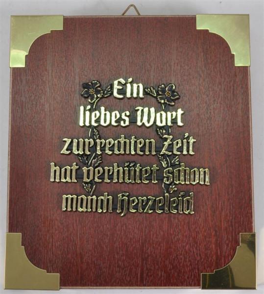 """Holzbild """"Ein liebes Wort zur rechten.."""" ca. 19x17 cm"""