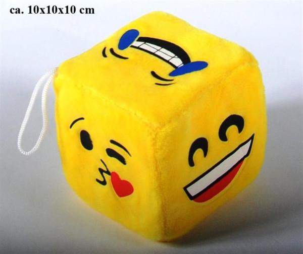 Plüsch Würfel Emoticon ca. 10x10x10 cm