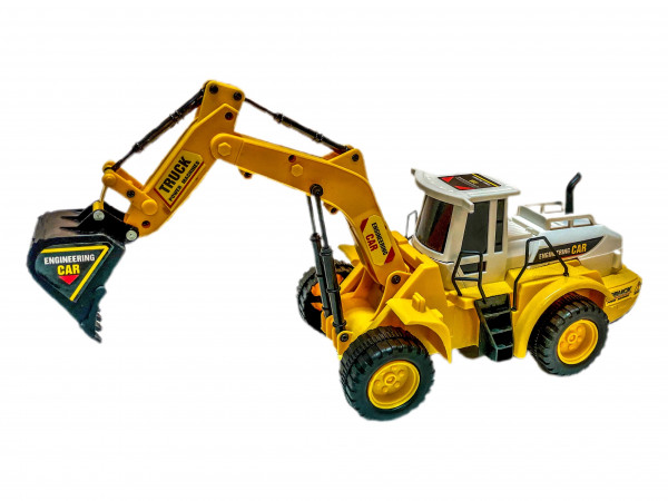Bagger gelb/weiß WB, ca. 32x11x13cm