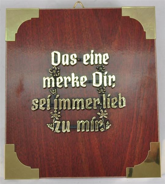 """Holzbild """" Das eine merke Dir,..."""" ca. 19x17 cm"""