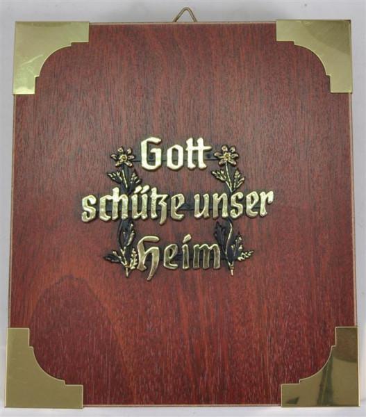 """Holzbild """"Gott schütze unser Heim"""" ca. 19x17 cm"""