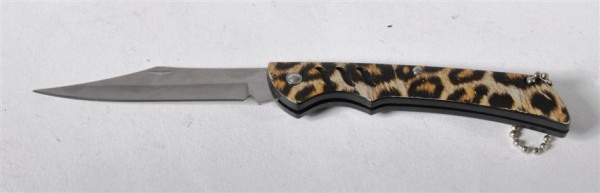 SK Messer Leoparden-Design AK, offen ca.16,5x2,5 cm