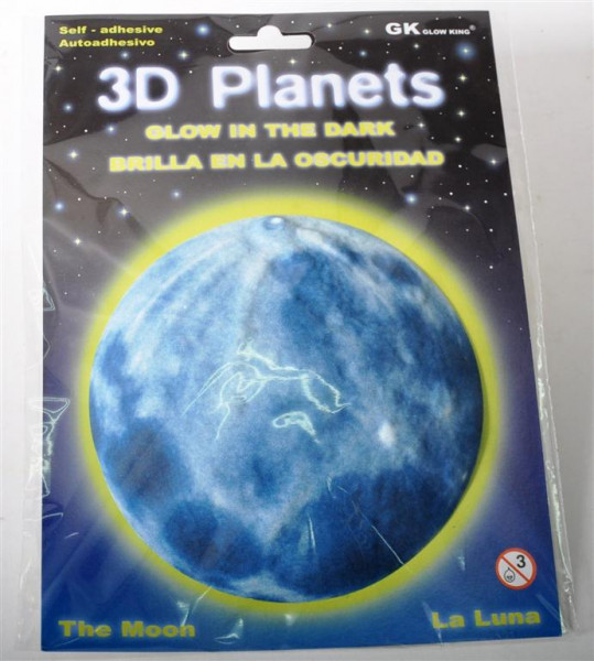 3D Bild Mond, glow in the dark AK, D: ca. 12 cm