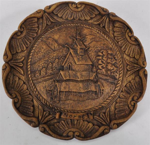 Wandteller aus Holz sort. ca. 24cm D