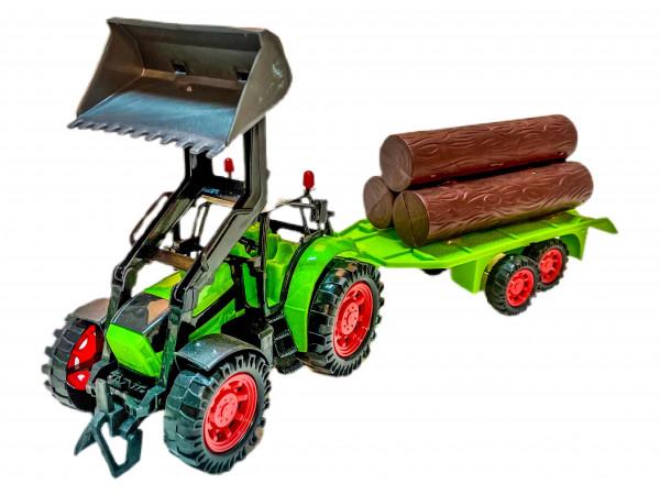 Traktor mit Anhänger u. Holz 4 s. WB, ca. 44x8,5x10,5cm