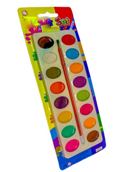 Wasserfarben m. 16 Farben PB, 20x7,2cm