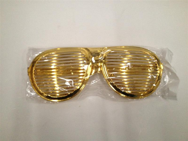 Brille mit Gitter Metall-Look farbl. sort. OPP, ca. 26x10cm