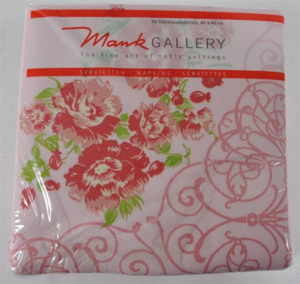 50 Stück Servietten Mank Gallery Lisa rosa m.Blumen 40x40 cm 50 Stück/Pack