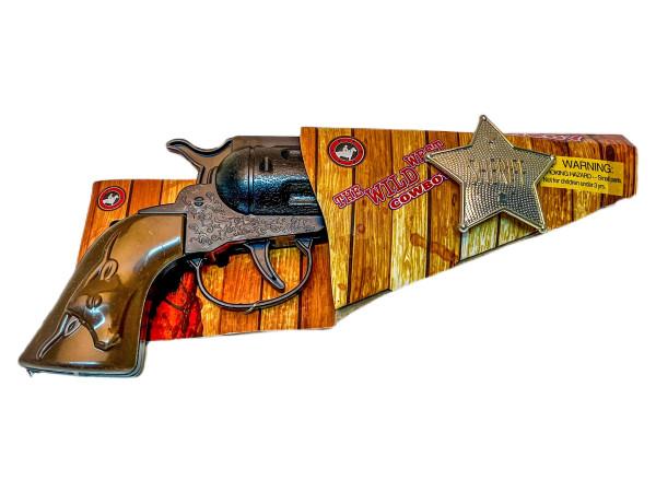 Cowboyspiel-Set m. Pistole u. Stern DIS; 21x8cm