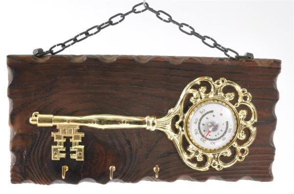 Schlüsselbrett mit Thermometer ca. 27x12,5cm 3 Haken