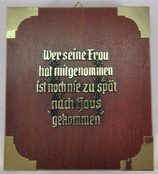 """Holzbild """"Wer seine Frau hat ...."""" ca. 19x17 cm"""