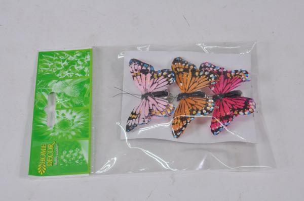 Schmetterling mit Glitzer am Draht 3er Set ca. 8cm 82101001400