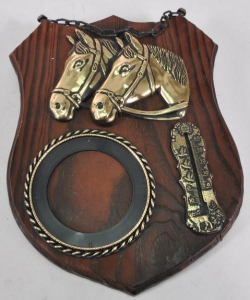 Holzbild mit Pferdeköpfen ca. 26x19 cm