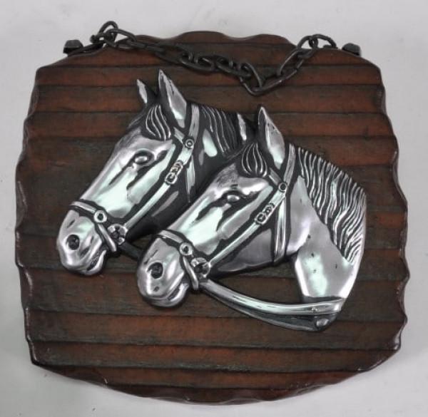 Holzbild mit Pferdeköpfen ca. 17x15cm