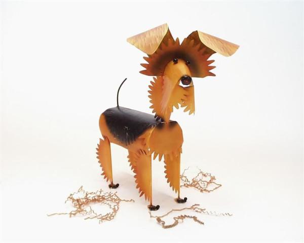 Hund aus Blech braun/schwarz BB, ca. 41x40cm