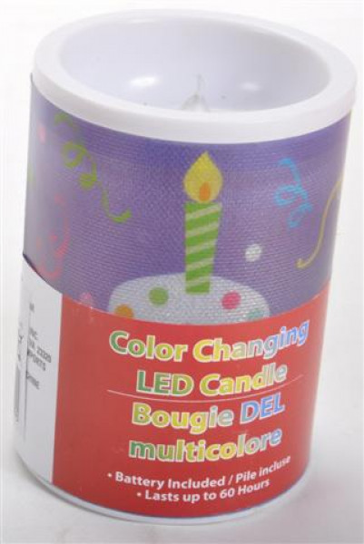 "LED Kerze ""Happy Birthday"" 3fach sort. DIS ca. 10x7cm"