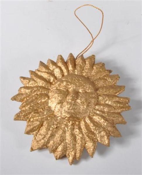Pappmache Sonne zum Hängen, goldfarbig ca. 10 cm