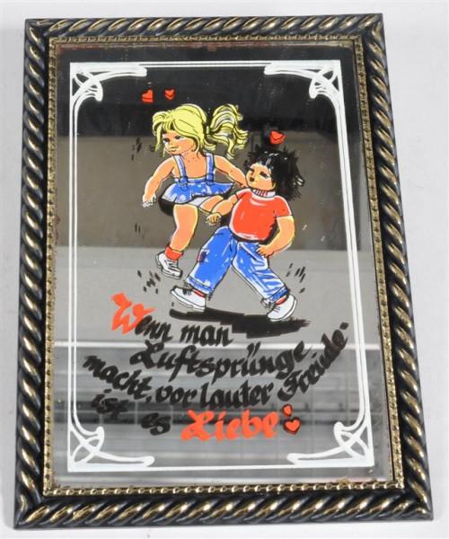 """Bild mit Spiegel """"Wenn man Luftsprünge.."""" ca. 16,5x12 cm"""