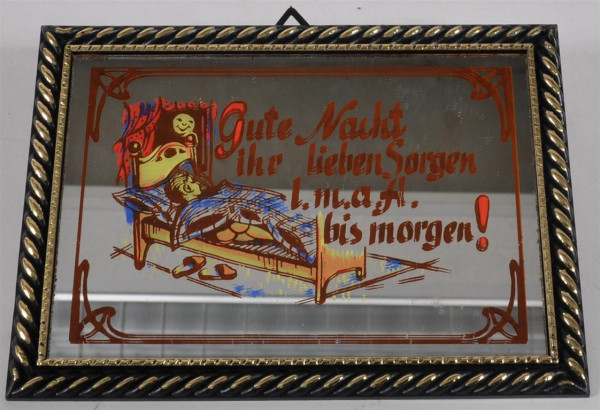 """Bild mit Spiegel """"Gute Nacht..."""" ca. 16,5x12 cm"""