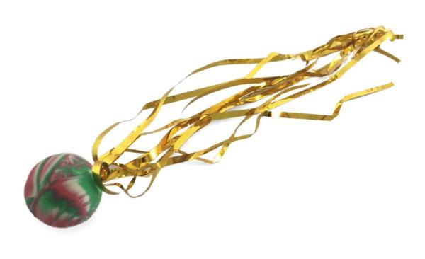 Dopsball m. Glitzerband, farbl.sort. OPP, ca. 24 cm lang 2,5cm D