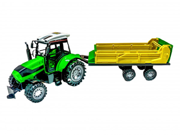 Traktor m. Anhänger PVC Box ca. 55x15x16 cm